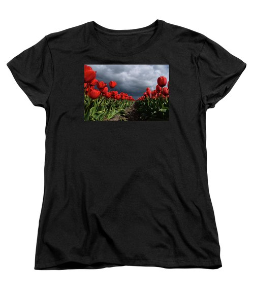 Heavy Clouds Over Red Tulips Women's T-Shirt (Standard Cut) by Mihaela Pater