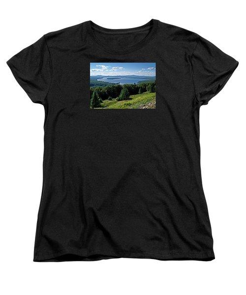 Height Of The Land Overlooking Mooselookmeguntic Lake Women's T-Shirt (Standard Cut) by Joy Nichols