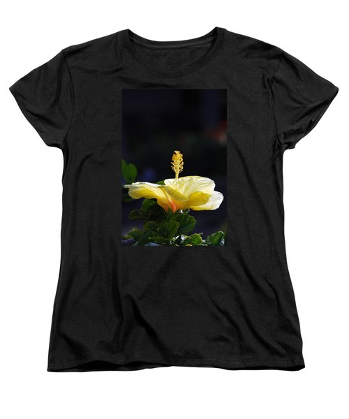 Women's T-Shirt (Standard Cut) featuring the photograph Hibiscus Morning by Debbie Karnes