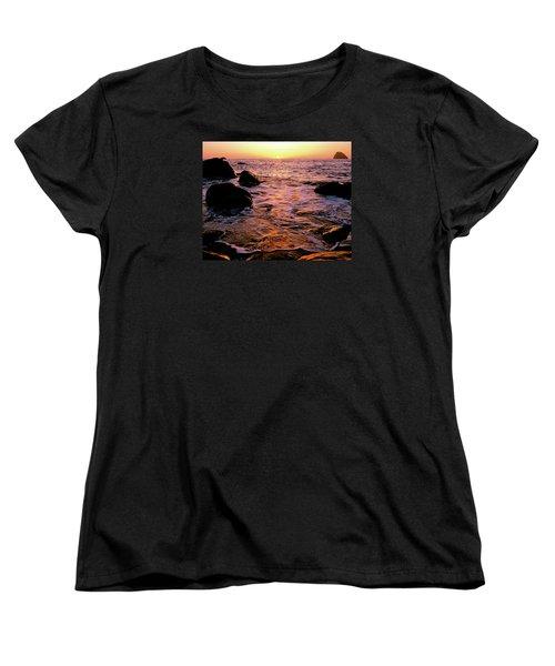 Hidden Cove Sunset Redwood National Park Women's T-Shirt (Standard Cut) by Ed  Riche