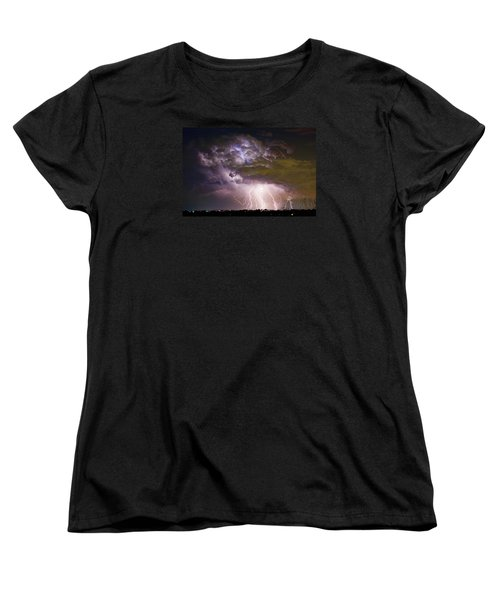 Highway 52 Storm Cell - Two And Half Minutes Lightning Strikes Women's T-Shirt (Standard Cut) by James BO  Insogna