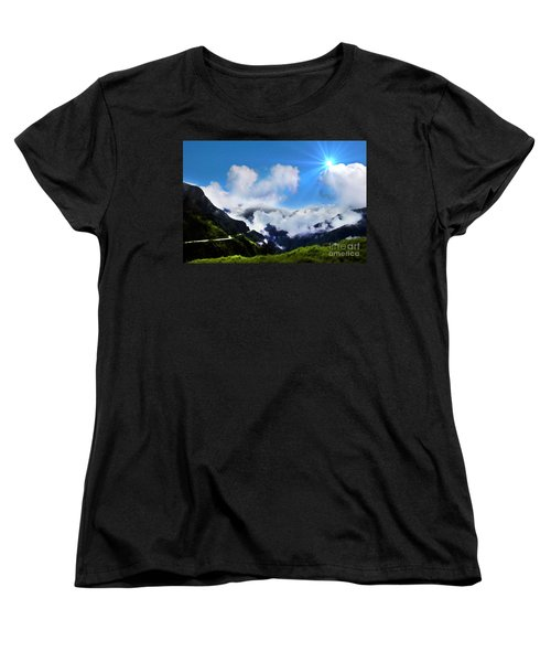 Women's T-Shirt (Standard Cut) featuring the photograph Highway Through The Andes - Painting by Al Bourassa