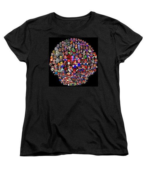 History Of Mario Mosaic Women's T-Shirt (Standard Cut) by Paul Van Scott