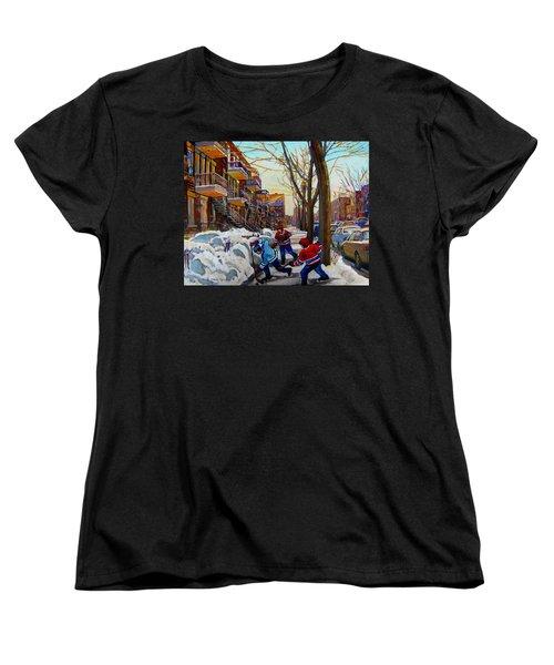 Hockey On De Bullion  Women's T-Shirt (Standard Cut) by Carole Spandau