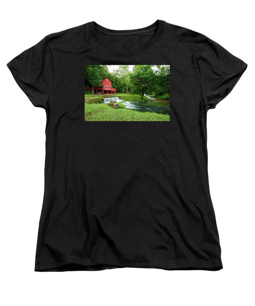 Women's T-Shirt (Standard Cut) featuring the photograph Hodgson Water Mill And Spring by Cricket Hackmann