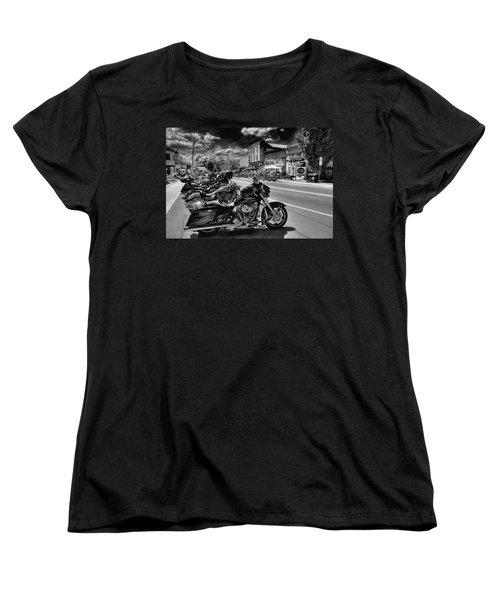 Hogs On Main Street Women's T-Shirt (Standard Cut) by David Patterson