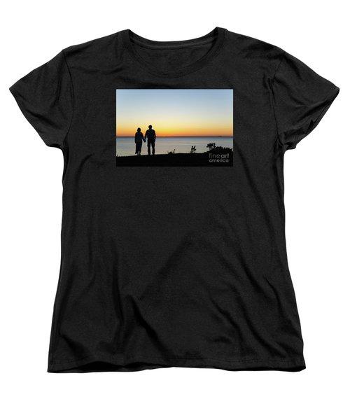 Women's T-Shirt (Standard Cut) featuring the photograph Holding Hands By  Sunset  by Kennerth and Birgitta Kullman