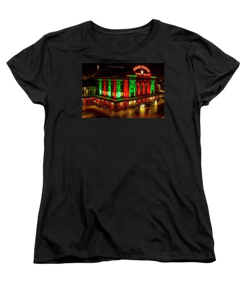 Holiday Lights At Union Station Denver Women's T-Shirt (Standard Cut) by Teri Virbickis