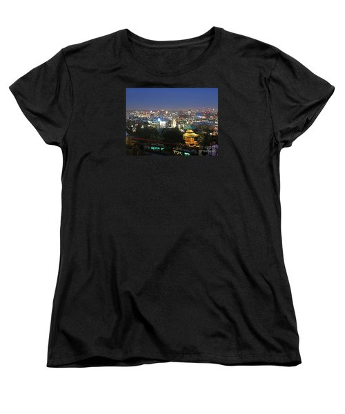 Women's T-Shirt (Standard Cut) featuring the photograph Hollywood Hills After Dark by Cheryl Del Toro