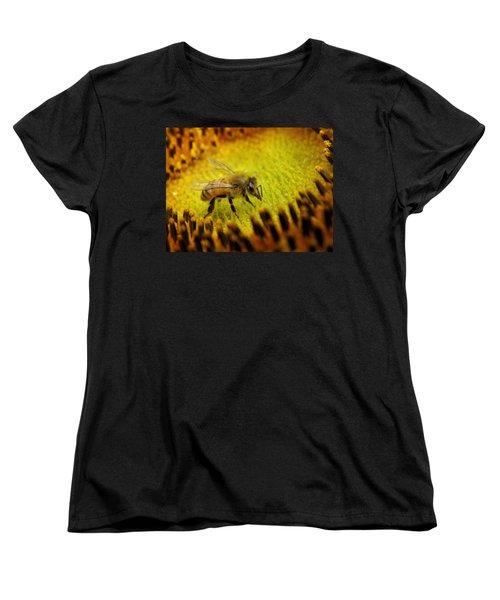 Women's T-Shirt (Standard Cut) featuring the photograph Honeybee On Sunflower by Chris Berry