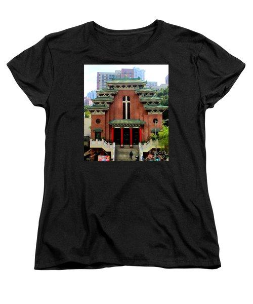 Women's T-Shirt (Standard Cut) featuring the photograph Hong Kong Temple by Randall Weidner
