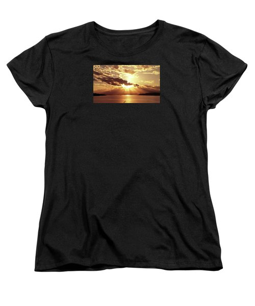 Women's T-Shirt (Standard Cut) featuring the photograph Hood Canal Sunset by Eddie Eastwood