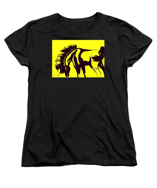 Horse-black And Yellow Women's T-Shirt (Standard Cut) by Loxi Sibley