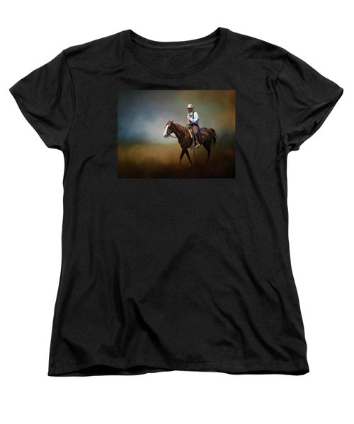 Women's T-Shirt (Standard Cut) featuring the photograph Horse Ride At The End Of Day by David and Carol Kelly