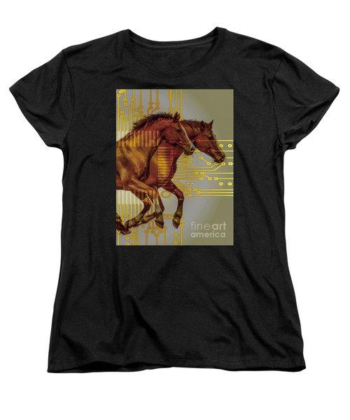 The Sound Of The Horses. Women's T-Shirt (Standard Cut) by Moustafa Al Hatter