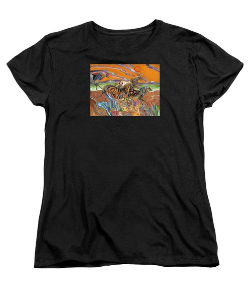 Women's T-Shirt (Standard Cut) featuring the painting Horses Of The Ardeche Valley France by Bob Coonts