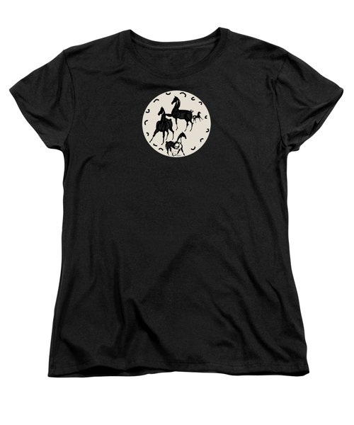 Horses Red Plate Women's T-Shirt (Standard Cut) by Mary Armstrong