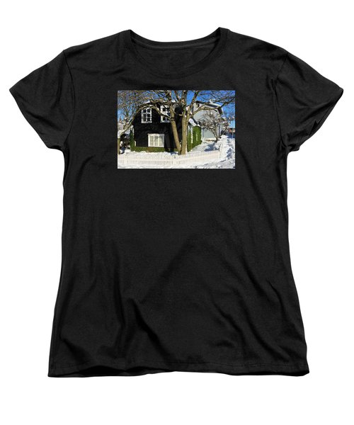 Women's T-Shirt (Standard Cut) featuring the photograph House In Reykjavik Iceland In Winter by Matthias Hauser