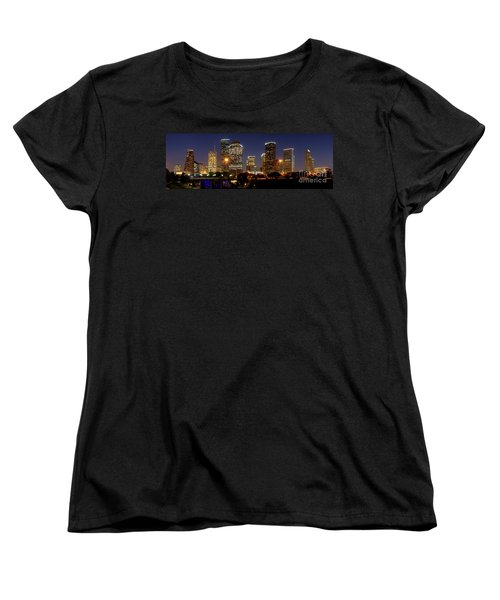 Houston Skyline At Night Women's T-Shirt (Standard Cut) by Jon Holiday