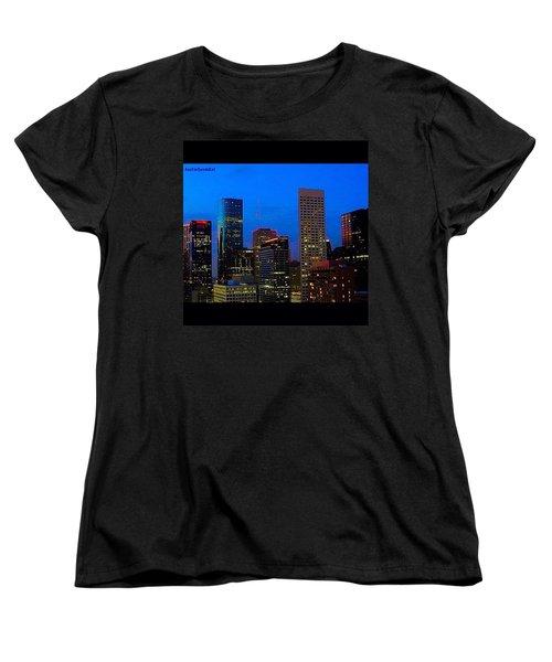 #houston #skyline At #night. #lights Women's T-Shirt (Standard Cut) by Austin Tuxedo Cat