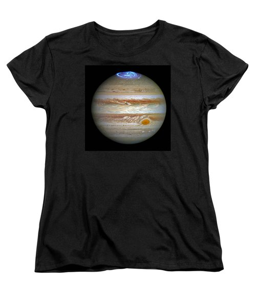 Women's T-Shirt (Standard Cut) featuring the photograph Hubble Captures Vivid Auroras In Jupiter's Atmosphere by Nasa