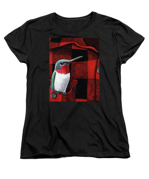 Women's T-Shirt (Standard Cut) featuring the painting Hummingbird Memories by Linda Apple