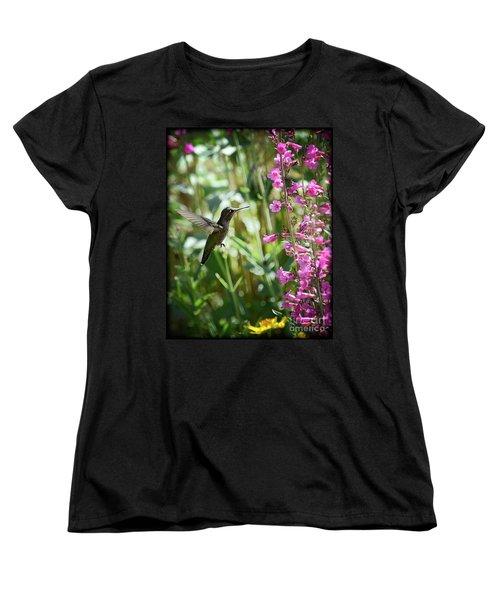Hummingbird On Perry's Penstemon Women's T-Shirt (Standard Cut) by Saija  Lehtonen