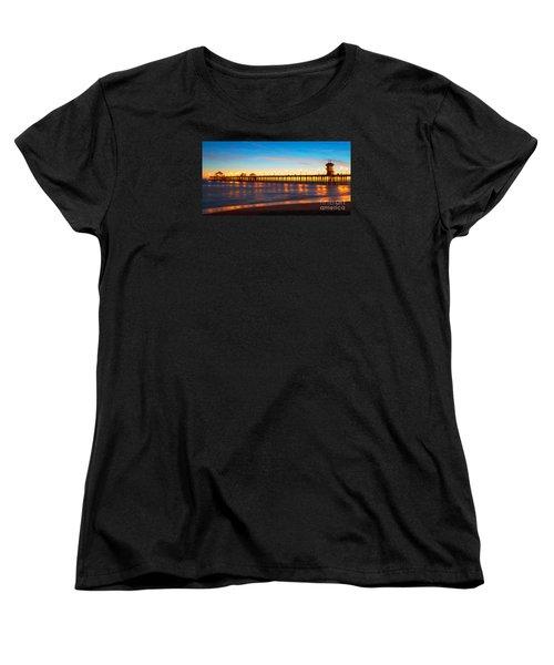 Huntington Beach Pier - Twilight Women's T-Shirt (Standard Cut) by Jim Carrell