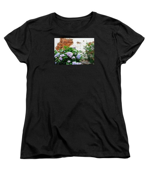 Hydrangea And Bricks Women's T-Shirt (Standard Cut) by Menachem Ganon