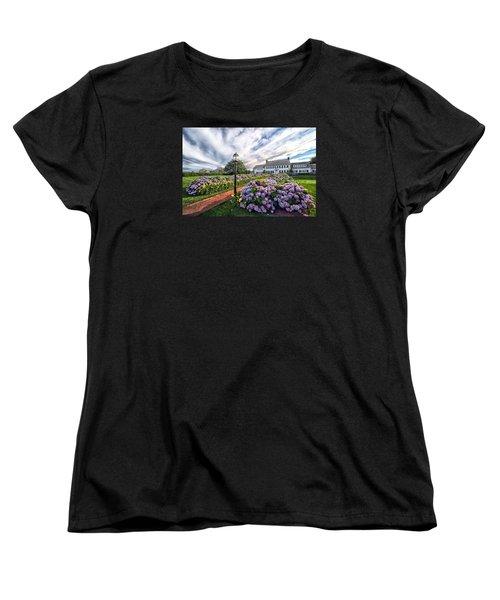 Women's T-Shirt (Standard Cut) featuring the photograph Hydrangea Walk House by Constantine Gregory