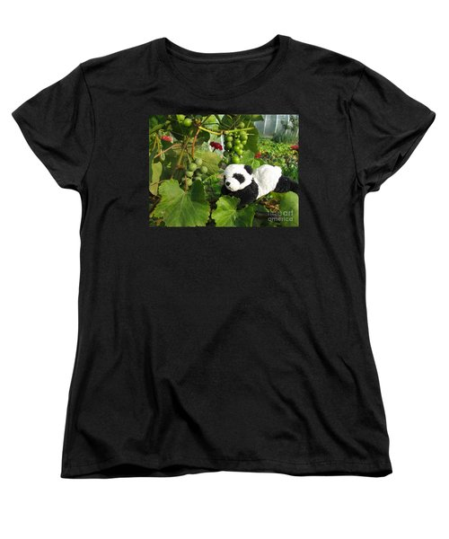 Women's T-Shirt (Standard Cut) featuring the photograph I Love Grapes Says The Panda by Ausra Huntington nee Paulauskaite
