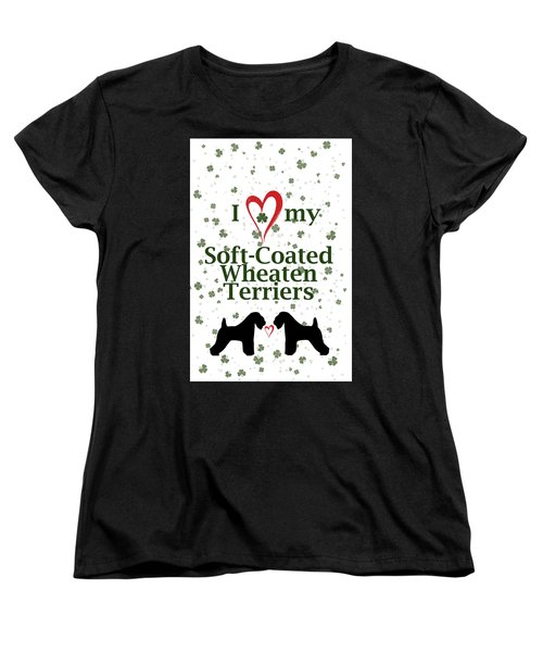 Women's T-Shirt (Standard Cut) featuring the digital art I Love My Soft Coated Wheaten Terriers by Rebecca Cozart