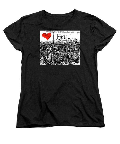 Women's T-Shirt (Standard Cut) featuring the digital art I Love Tokyo by Sladjana Lazarevic