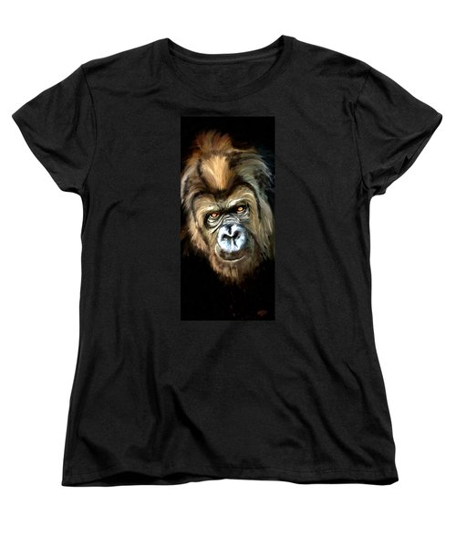 Women's T-Shirt (Standard Cut) featuring the painting Gorilla Portrait by James Shepherd