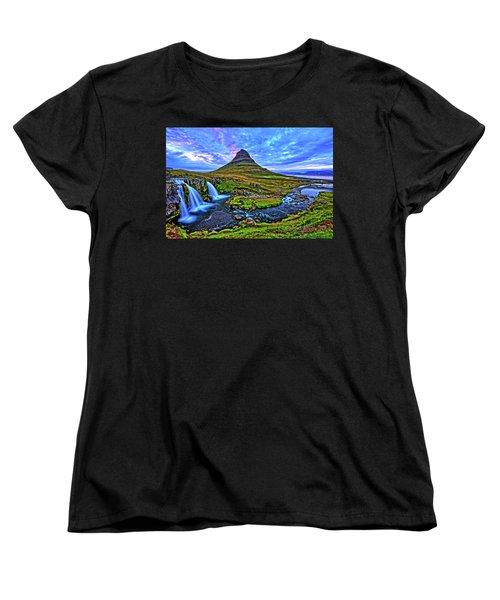 Women's T-Shirt (Standard Cut) featuring the photograph Ice Falls by Scott Mahon