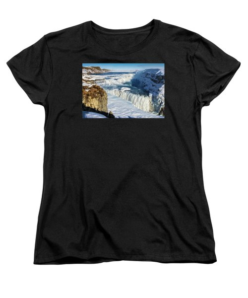 Women's T-Shirt (Standard Cut) featuring the photograph Iceland Gullfoss Waterfall In Winter With Snow by Matthias Hauser