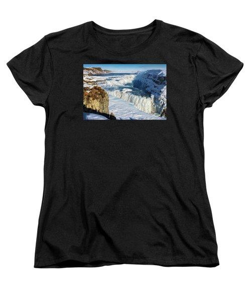 Iceland Gullfoss Waterfall In Winter With Snow Women's T-Shirt (Standard Cut) by Matthias Hauser