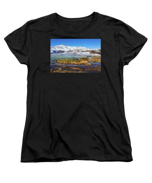 Iceland Landscape Geothermal Area Haukadalur Women's T-Shirt (Standard Cut) by Matthias Hauser