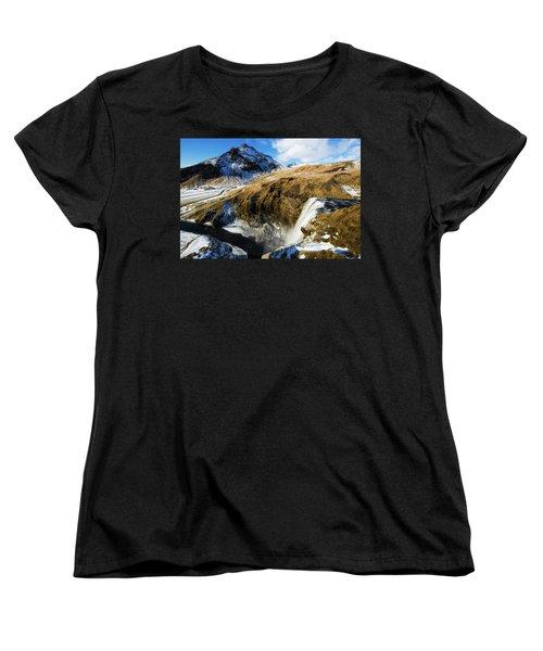 Iceland Landscape With Skogafoss Waterfall Women's T-Shirt (Standard Cut) by Matthias Hauser