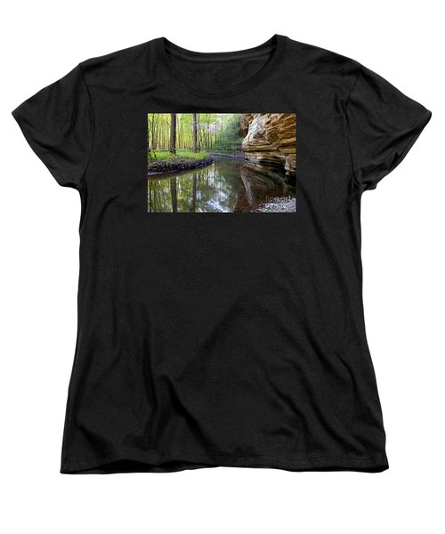 Women's T-Shirt (Standard Cut) featuring the photograph Illinois Canyon In Spring by Paula Guttilla