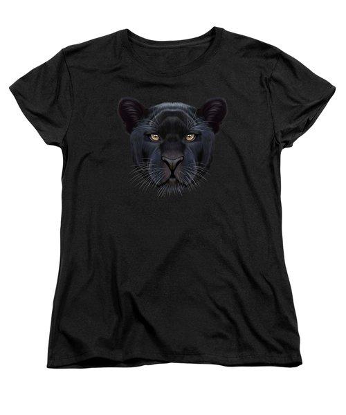 Illustrated Portrait Of Black Panther.  Women's T-Shirt (Standard Cut) by Altay Savrukov