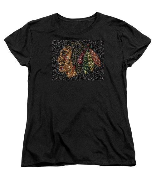Indian Hockey Puck Mosaic Women's T-Shirt (Standard Cut) by Paul Van Scott