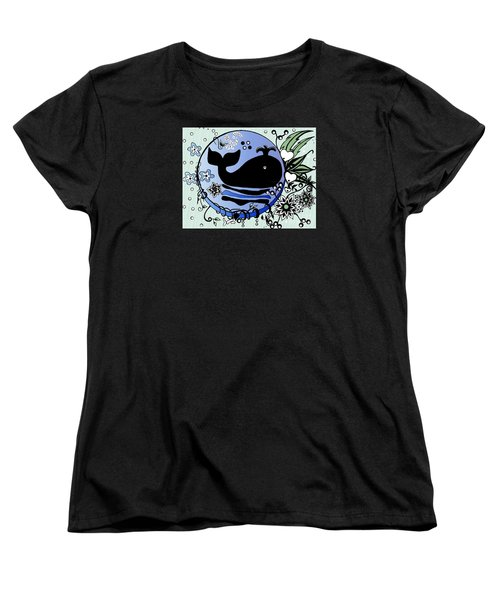 Women's T-Shirt (Standard Cut) featuring the drawing Ink And Pen Whale Drawing by Saribelle Rodriguez
