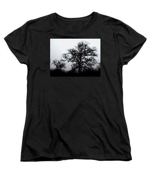 Women's T-Shirt (Standard Cut) featuring the photograph Ink And Photo Study Of Live Oaks by Carolina Liechtenstein