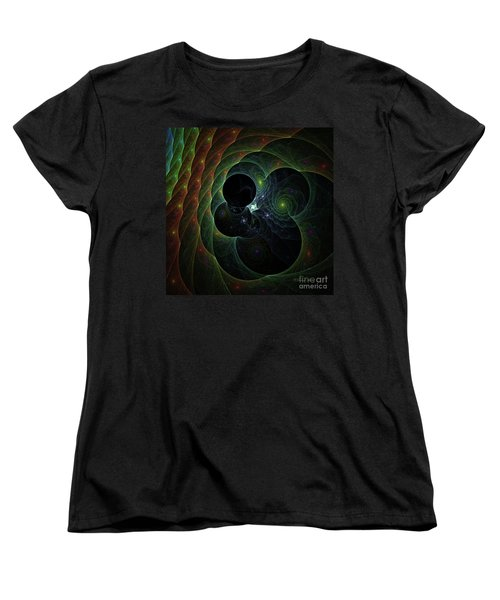 Women's T-Shirt (Standard Cut) featuring the digital art Into Space And Time by Deborah Benoit