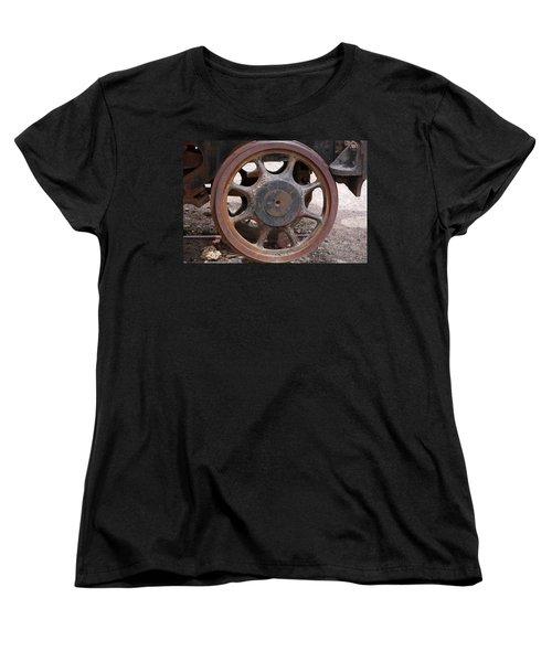 Women's T-Shirt (Standard Cut) featuring the photograph Iron Train Wheel by Aidan Moran