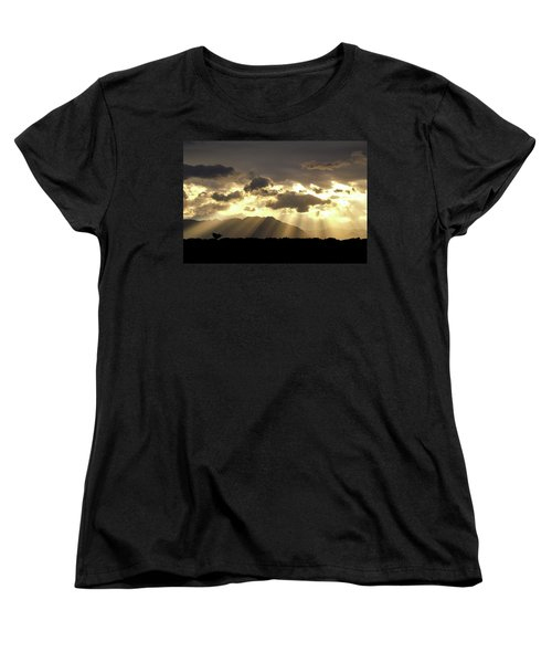 Women's T-Shirt (Standard Cut) featuring the photograph Israeli Desert Sunrise At Timna by Yoel Koskas