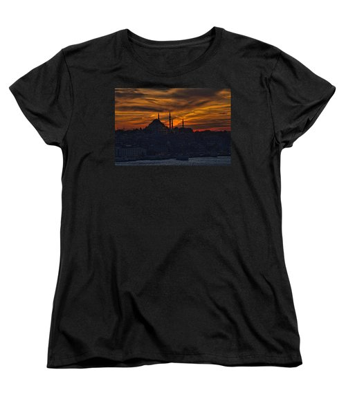Istanbul Sunset - A Call To Prayer Women's T-Shirt (Standard Cut) by David Smith
