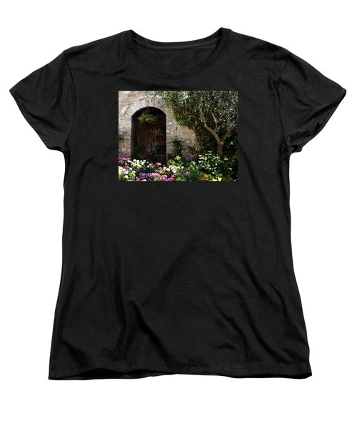 Italian Front Door Adorned With Flowers Women's T-Shirt (Standard Cut) by Marilyn Hunt
