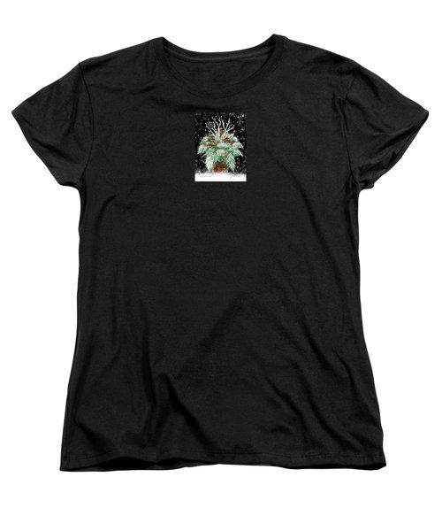 Women's T-Shirt (Standard Cut) featuring the painting It's Snowing by Jean Pacheco Ravinski